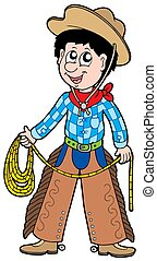 Cartoon cowboy with lasso - isolated illustration.