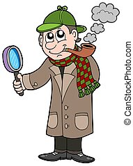 Cartoon detective - isolated illustration.