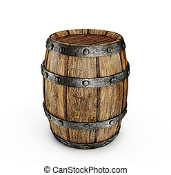 barrel - old wooden barrel isolated on a white
