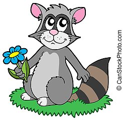 Cartoon racoon with flower - isolated illustration.