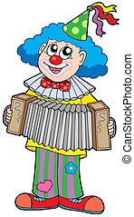 Clown with accordion - isolated illustration