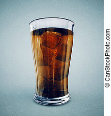 cola in glass isolated on a blue background