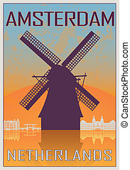 Amsterdam vintage poster in orange and blue textured...
