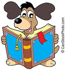 Dog reading book - isolated illustration.