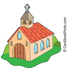 European style church - isolated illustration