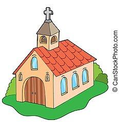 European style church - isolated illustration.