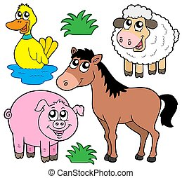 Farm animals collection 5 - isolated illustration.