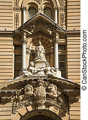 statue of queen victoria at town hall of sydney australia -...