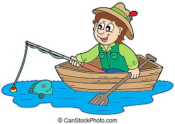 Fisherman in boat - isolated illustration.