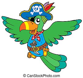 Flying pirate parrot - isolated illustration.
