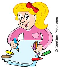 Girl with crayons - isolated illustration