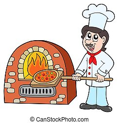 Chef baking pizza - isolated illustration.