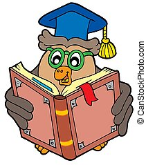 Owl teacher reading book - isolated illustration
