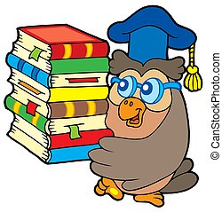 Owl teacher holding pile of books