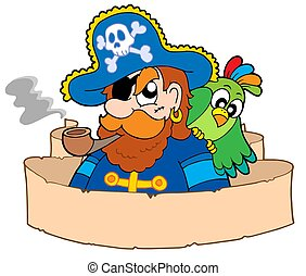 Pirate with parchment - isolated illustration