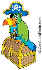 Pirate parrot sitting on chest - isolated illustration.