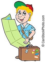 Small traveller on white background - isolated illustration.