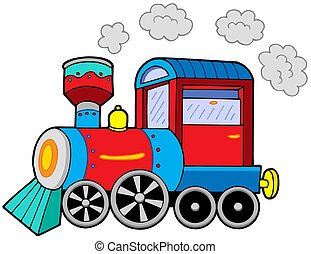 Steam locomotive on white background - isolated illustration...