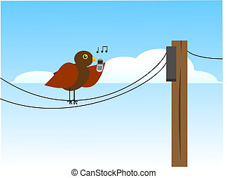 bird on a wire - small song bird chirps away on its cell...