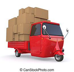 mini truck - one three wheeled mini truck full load with...