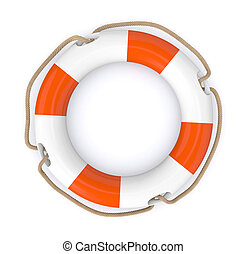 lifesaver - closeup of a lifesaver, orange and white (3d...