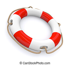lifesaver - closeup of a lifesaver, red and white (3d...