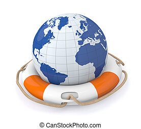 save the world - one lifesaver with a world globe 3d render...