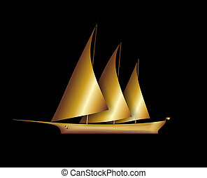boat - illustration of a golden sailboat with three masts