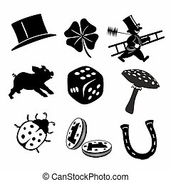 luck charms - collection of different black and white luck...