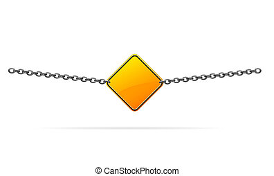 sign hanging on a heavy iron chain as a barrier