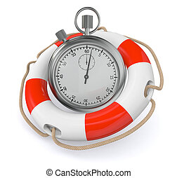save time - one lifesaver with a stopwatch (3d render)