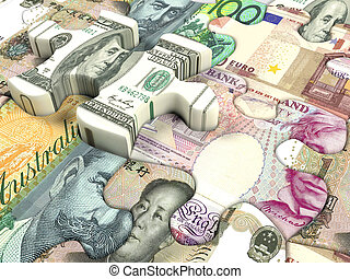 World currency - Concept background for exchange rate of...
