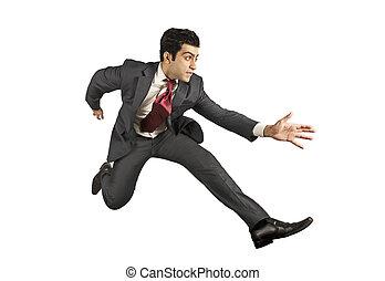 Business man jumping and running forward