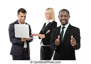 Successful business team. White Background