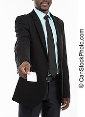 Portrait of African Businessman with blank business card