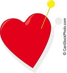 Heart with pin - Red heart with gold pin on white