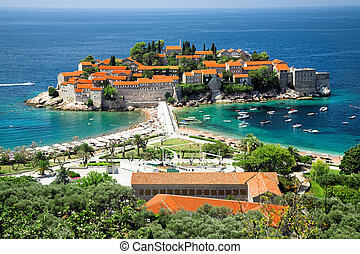 Sveti Stefan, small islet and resort in Montenegro.
