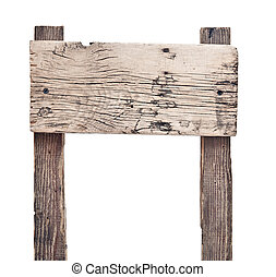Wooden sign isolated on white.