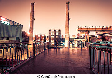 Chemical plant at twilight