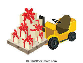 Forklift Truck Loading A Stack of Gift Boxes