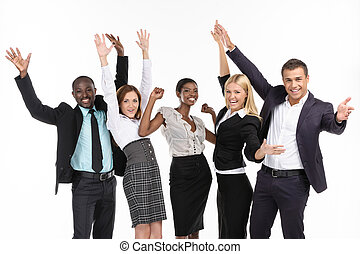 Group of people. Hands up - Happy business team on white...