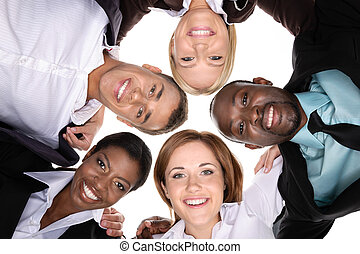 Friendly business team - A group of people in a circle on...