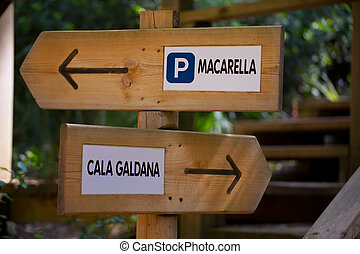 Menorca track sign to go Macarella or Cala Galdana in...