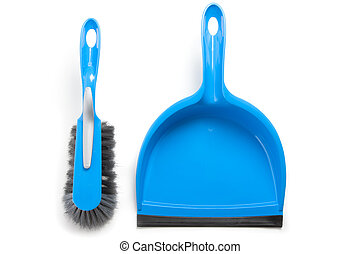 Household cleaning brush and dustpan - Blue set of brush and...