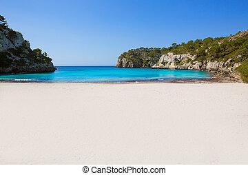 Cala Macarella Menorca turquoise Balearic Mediterranean -...