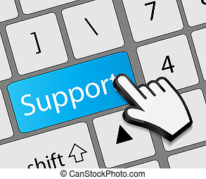 Keyboard support button with mouse hand cursor vector illustration
