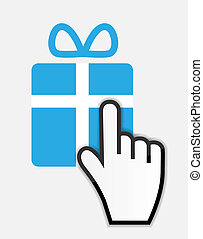 Mouse hand cursor on gift vector illustration