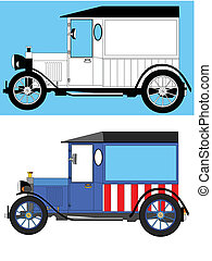 model t delivery van - two version of a model t style...