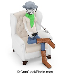 3d man hipster on a chair with smartphone