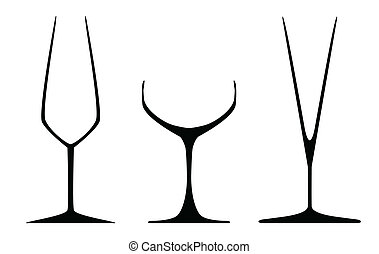 Champagne Glasses - Aselection of three traditional...